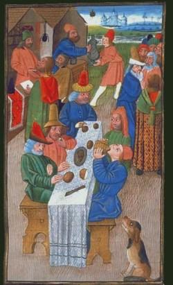 """Peasant meal. Aristotle, """"Politiques et économiques"""", France, 15th century. Paris, Biblioteque nationale, Département des manuscrits, Français 22500.[http://expositions.bnf.fr/gastro/grands/116.htm]"""