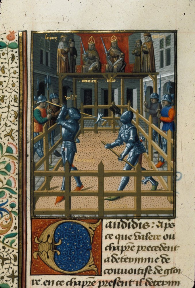 Harley 4375 f. 171v Two knights battling Description:Miniature of two knights battling.