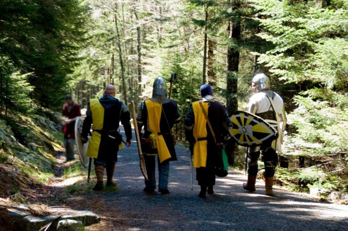 Image of Endewearde armored fighters walking the carriage paths of Acadia National Park (2016).