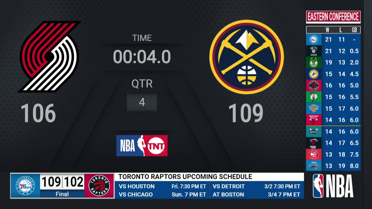 Trail Blazers @ Nuggets | NBA on TNT Live Scoreboard
