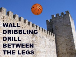 Wall dribbling drill between the legs