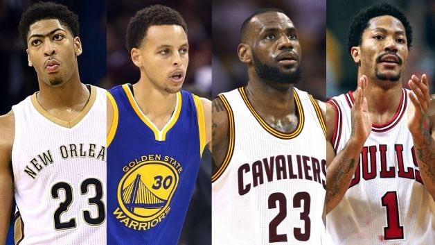 Anthony Davis, Steph Curry, LeBron James, Derrick Rose