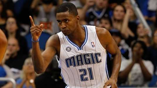 Nov 1, 2013; Orlando, FL, USA; Orlando Magic small forward Maurice Harkless (21) points after he made a basket against the New Orleans Pelicans during the second half at Amway Center. Orlando Magic defeated the New Orleans Pelicans 110-90. Mandatory Credit: Kim Klement-USA TODAY Sports