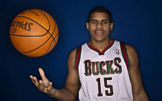 Milwaukee Bucks first-round draft pick Tobias Harris tosses a ball as he poses for a picture during the team's NBA basketball media day on Saturday, Dec. 10, 2011, in St. Francis, Wis. (AP Photo/Morry Gash) ORG XMIT: WIMG101