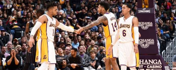 Lakers young core Photo by Andrew D. Bernstein/NBAE via Getty Images