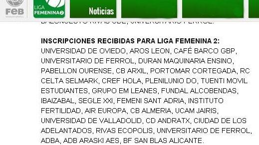 La FEB confirma la inscripción del Clarinos en Liga Femenina 2