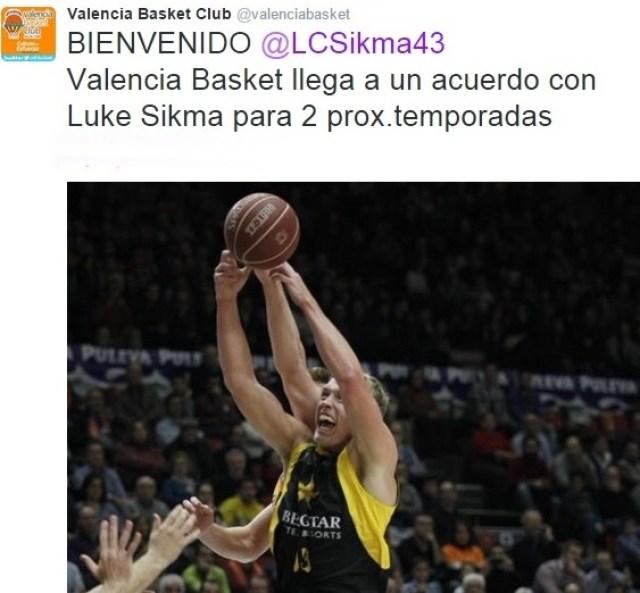 twitter valencia basket fichaje luke sikma