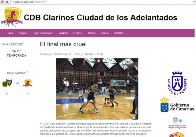 web clarinos - descenso liga femenina 2
