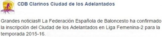 facebook - clarinos - jugará en lf2 15-16