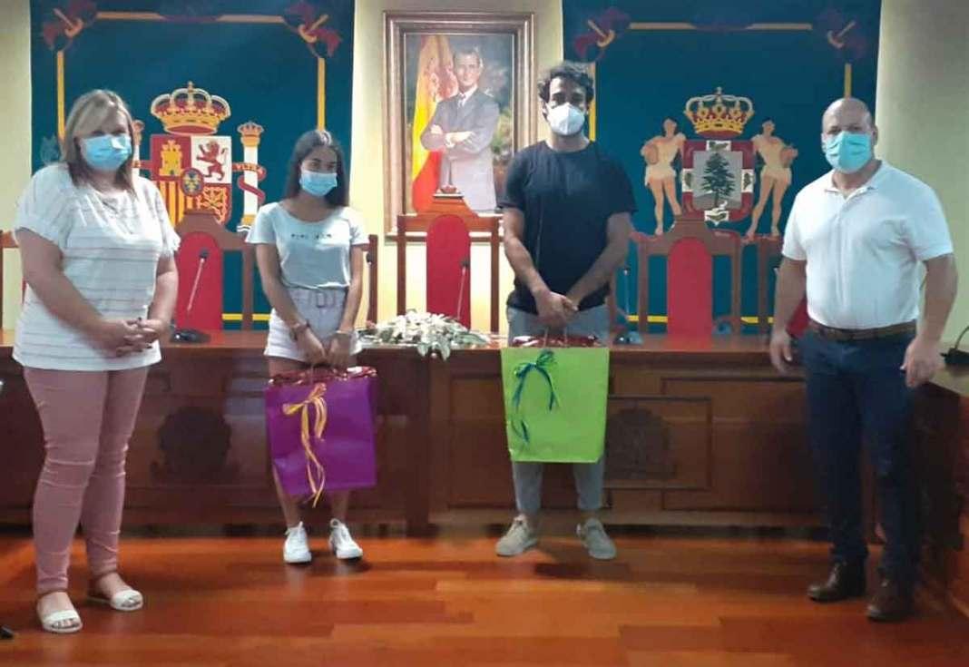 Nerea Rodríguez y Ayoze Alonso, recibidos en el ayuntamiento de La Guancha tras sus ascensos