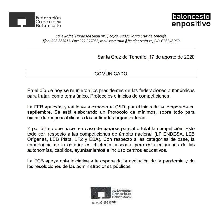 Las federaciones autonómicas se reúnen con la FEB para establecer el protocolo sanitario para jugar la temporada 20/21