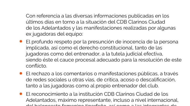 'Ciudadanos La Laguna' apoya al Clarinos en el asunto de las acusaciones de Sara Djassi a Claudio García