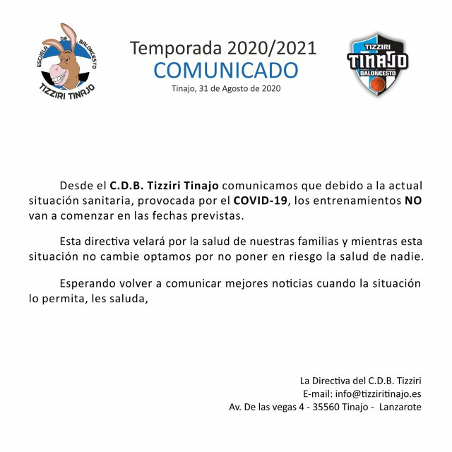 Comunicado oficial del Tizziri Tinajo