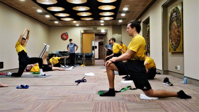Sesión de recuperación aurinegra para preparar las semifinales de Copa