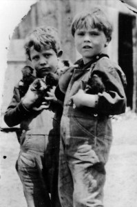 Mort (left) and Dan at the farm 1920's
