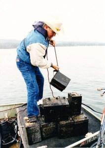 Ray Scott with a battery taken from Guntersville Reservoir in Alabama. Photo courtesy of Matt Vincent.