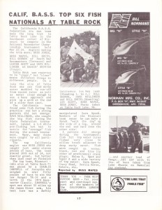 The Cal BASS Chapter Team report from the 1974 Chapter Nationals on Table Rock Lake. Photo courtesy of Dave Coolidge.