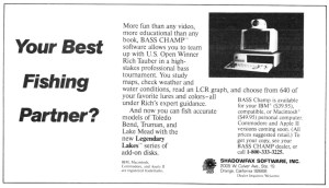Rich Tauber's Bass Champ computer game released in 1989. The first computer game that touted itself as not just a fun game to play, but a tool to learn by.