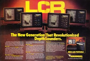 1985 Humminbird LCR ad featuring the whole lineup of new LCRs.