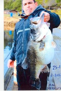 Mac Weakley was the last to catch Dottie, this time at 25.1 pounds. As the story goes, the fish was snagged and not considered for a record. Photo Bill Rice March 2006.