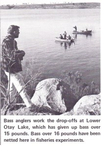 Lower Otay anglers ply the depths for the newly introduced Florida-Strain bass. Photo Lee Schlimmer 1969 issue of Bass Master Magazine.