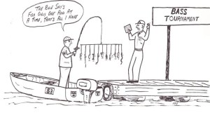 Cartoon from the Spring 1969 Bass Master Magazine showing who really invented the A-Rig. Harold Sharp came up with this cartoonand who would know years later it'd be such a controversy.