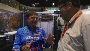 Shaw Grigsby Jr discusses pro-on-pro draw tournaments vs marshals with Bass Fishing Archives' Terry Battisti at the 2014 ICAST show.