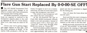1975 BASS Tournament Rules introducing the staggered Ooze-off instead of shotgun start. Mar/Apr 1975 issue of bass Master Magazine.