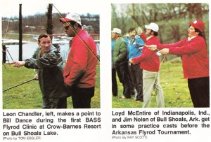 Bill Dance, Loyd McEntire and Jim Nolen get in some casting practice before the fly rod event at Bull Shoals. Jul/Aug 1975 issue f Bass Master Magazine.