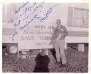 Harold Sharp holds his tournament big fish for the 1967 Smith Lake event put on by Ray Scott. Bob Cobb took the picture. Photo courtesy of Harold Sharp.
