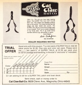 Cat Claw Bait Company's Super Tail ad from 1977.