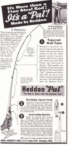 1940 ad for the all steel Heddon Pal rod.