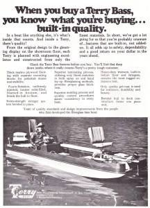 Delhi Manufacturing (Terry) may be the second true manufacturer of the modern bass boat. Unfortunately, their ad campaign by 1973 was starting to look dated. Yes they made a great boat but from the ads it was difficult to figure out what their specs were. Still with folks like Grits Gresham on their staff, they were one of the big dogs on the block. A few years later their ads would become better and their hull design would morph into a pad boat that had performance written all over it. I can't wait to get to those years so we can get rid of this old picture of Grits and get to the really cool designs.