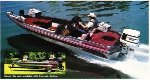 An ad for the 1986 Bass Master Classic boat. Note the distance from the deck to the top of the gunwale and the short front deck.