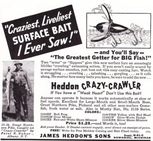 1940 ad for the Heddon Crazy Crawler.