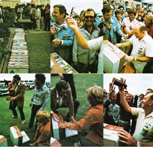 Upper, Ray Scott and Harold Sharp weigh anglers' tackle boxes. Below, anglers and tournament officials play a joke on Classic Rookie Jimmy Houston. Photo February 1976 issue of Bassmaster Magazine.