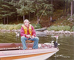 Bob Sickafoose, inventor of the Super Tail, in his MonArk bass boat on 1000 Islands. Photo Marty Friedman.