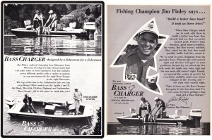 Based out of Lebanon, MS, Bass Charger started their national advertising campaign in '73. I don't know much about Bass Charger boats and wonder if this company was the predecessor of Charger. They offered seven different models, unfortunately none of their specifications are in any of the ads. Shown in the two ads available are the Citation and Diplomat. The Citation looks like an good boat. Lots of room, what appears to be a big livewell, rod racks and stick steering. It also looks like it, along with the Diplomat, have Johnson 70s hanging off their sterns. Nice looking boats for the day but sure would like more information on them.