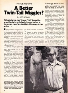 February 1977 Bass Master Magazine article on the Cat Claw Bait's Super Tail Page 1.