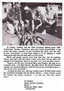 A 1970 picture of guide, Al (Lindy) Lindner (second from right) and his patrons with a good string of largemouths from an unmentioned lake.  Photo 1970 issue of Fishing Facts magazine.
