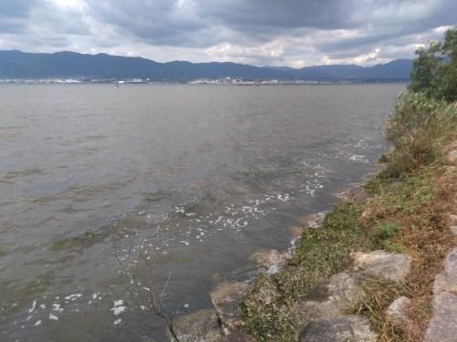 強風で泡立つ琵琶湖の下物エリア
