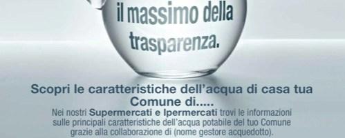 """Al via la campagna informativa Coop in collaborazione con Federutility: """"Sull'acqua il massimo della trasparenza"""""""
