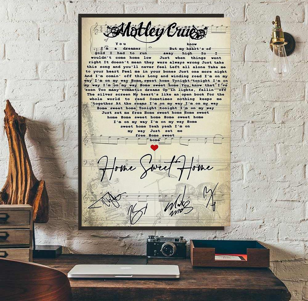 The air of the earth. Motley Crue Home Sweet Home Heart Song Lyrics Poster Canvas