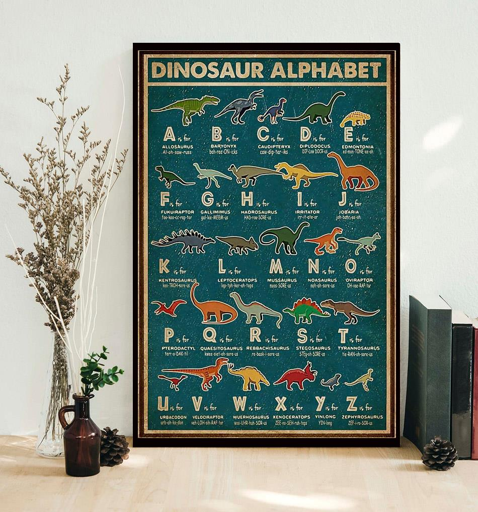 alphabet dinosaur vintage retro poster