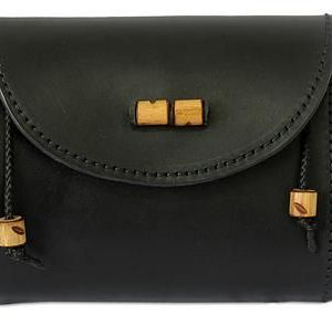 Leather shoulder bag, 'Never Without Black'