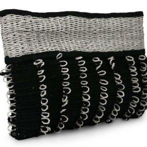 NOVICA Multicoloured Cotton and Maguey Clutch Handbag, 'Ebony Spirals'