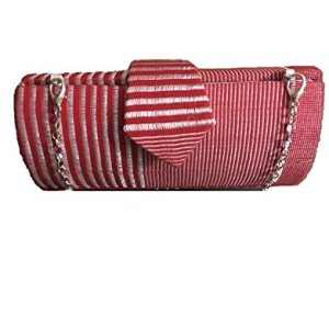 Red and White Genuine African Kente Cloth Hard Body Clutch Purse Plus Chain Strap