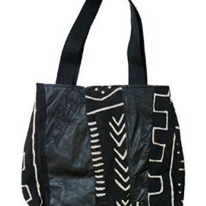 Large Hand Painted Black Mudcloth Mud Cloth and Leatherette Design Bag Purse
