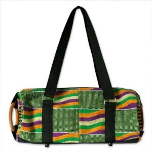 NOVICA Multicolored Cotton Kente Shoulder Bag, 'Akan Glamour'