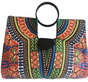 Large Red and Green Hard Body African Dashiki Handbag